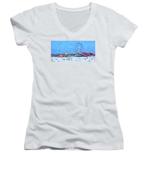 Women's V-Neck T-Shirt (Junior Cut) featuring the photograph Vacation by Kathy Bassett