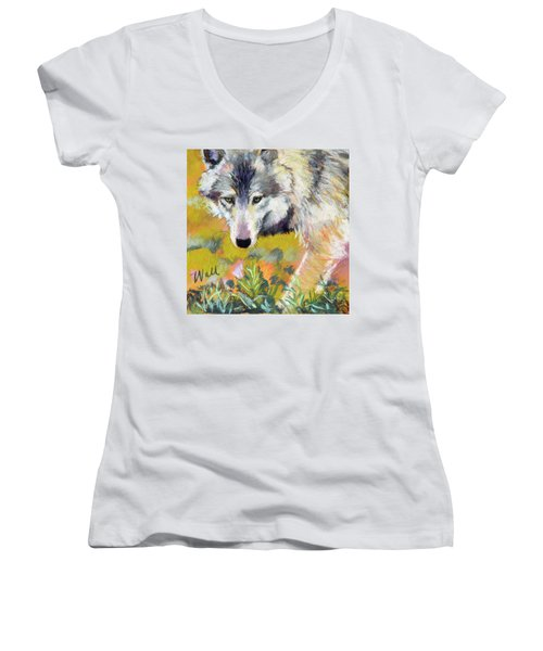 Women's V-Neck T-Shirt (Junior Cut) featuring the pastel Vagabond by Pattie Wall