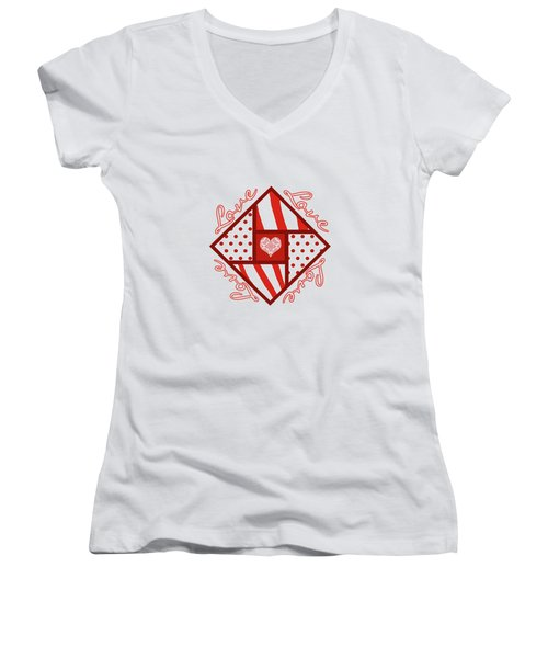Valentine 4 Square Quilt Block Women's V-Neck T-Shirt (Junior Cut) by Methune Hively