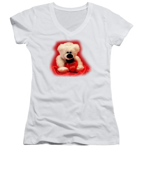 Women's V-Neck T-Shirt (Junior Cut) featuring the photograph Valentine Bear by Linda Phelps