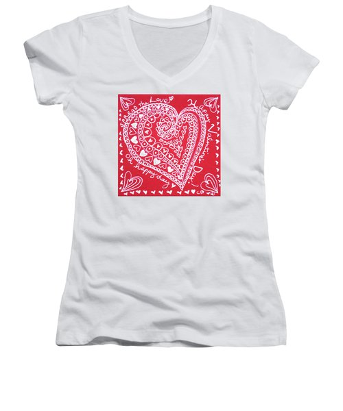 Valentine Heart Women's V-Neck