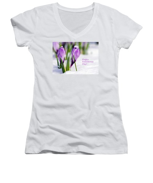 Valentines Day Crocuses Women's V-Neck (Athletic Fit)