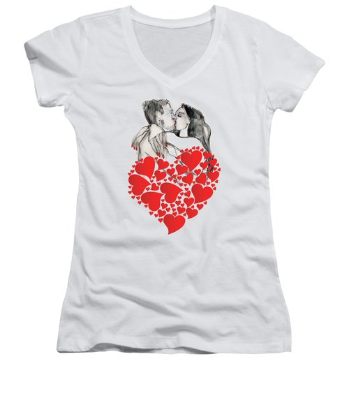 Women's V-Neck T-Shirt (Junior Cut) featuring the painting Valentine's Kiss - Valentine's Day by Carolyn Weltman