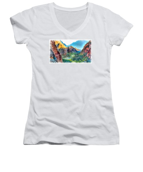 Valley Of Colours. Women's V-Neck (Athletic Fit)