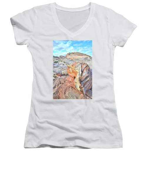 Valley Of Fire Alien Boulder Women's V-Neck T-Shirt (Junior Cut) by Ray Mathis