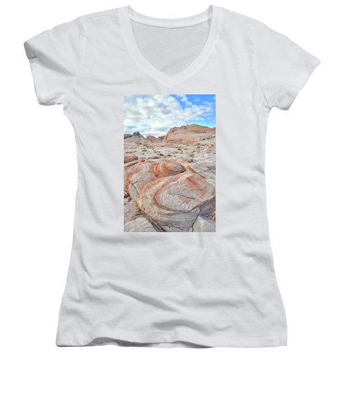 Valley Of Fire Beehives Women's V-Neck T-Shirt (Junior Cut) by Ray Mathis