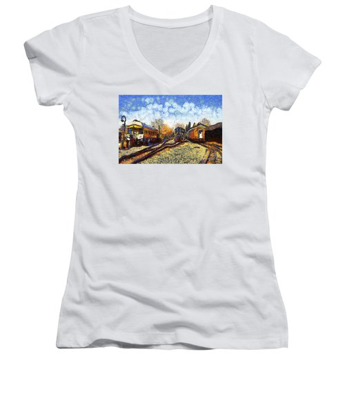 Van Gogh.s Train Station 7d11513 Women's V-Neck