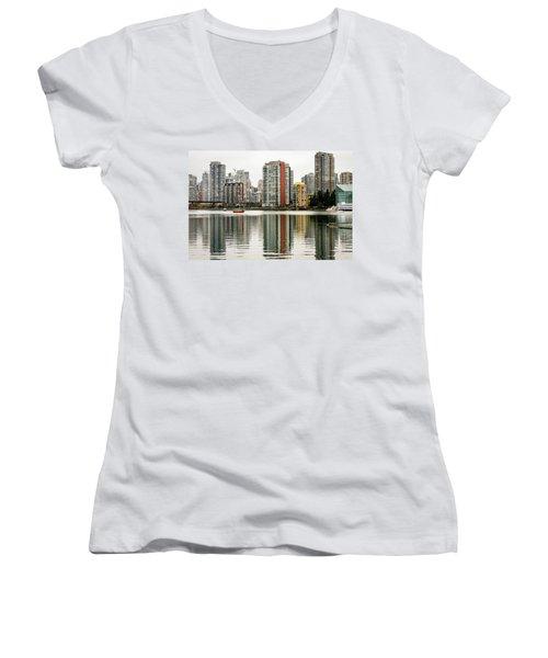 Vancouver Bc Sky Line Women's V-Neck T-Shirt (Junior Cut) by Menachem Ganon