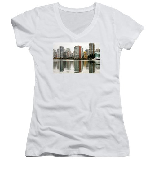 Vancouver Bc Sky Line Women's V-Neck (Athletic Fit)
