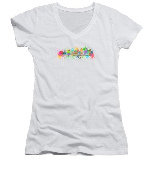 Vancouver Bc Skyline Paint Splatter Illustration Women's V-Neck T-Shirt (Junior Cut) by Jit Lim