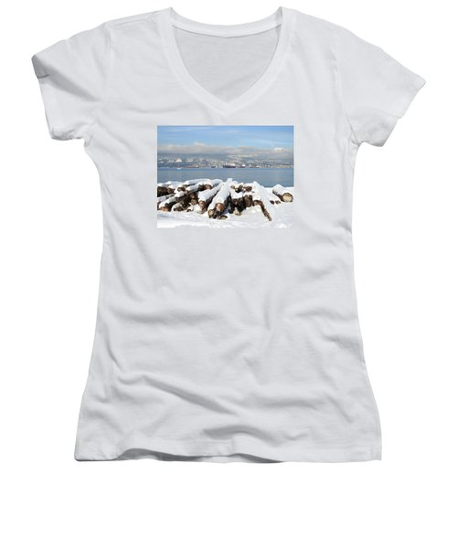 Vancouver Winter Women's V-Neck T-Shirt (Junior Cut) by Brian Chase