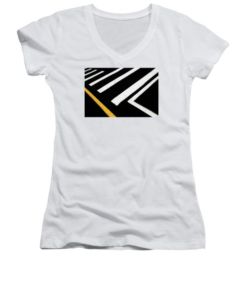 Women's V-Neck T-Shirt featuring the photograph Vanishing Traffic Lines With Colorful Edge by Gary Slawsky