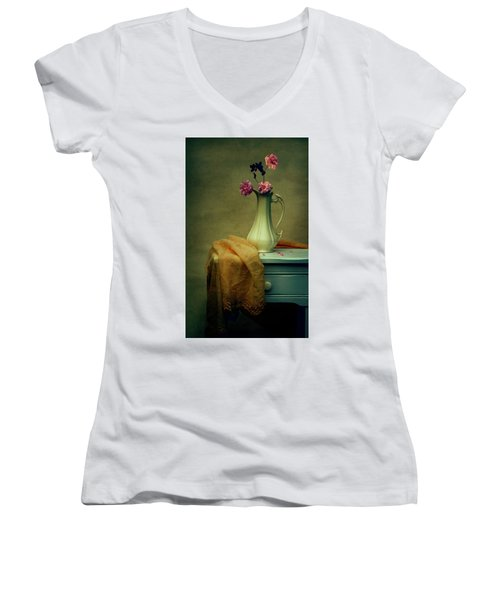 Vase Of Pink Roses Women's V-Neck (Athletic Fit)