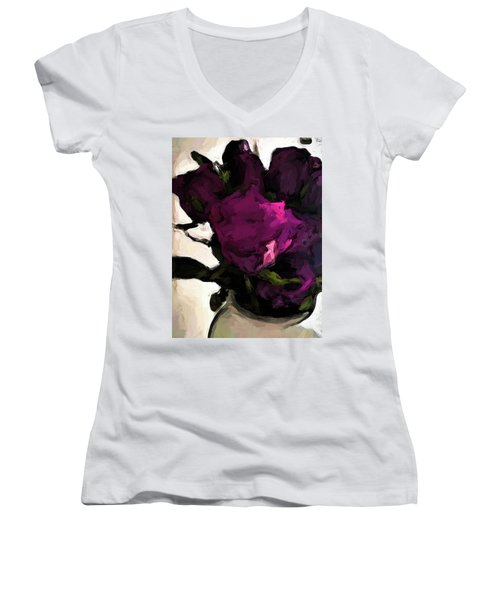 Vase Of Roses With Shadows 1 Women's V-Neck (Athletic Fit)