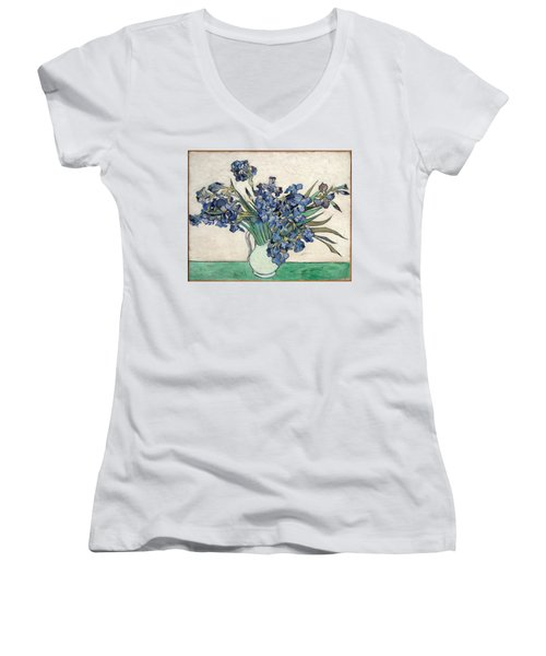 Women's V-Neck featuring the painting Vase With Irises by Van Gogh