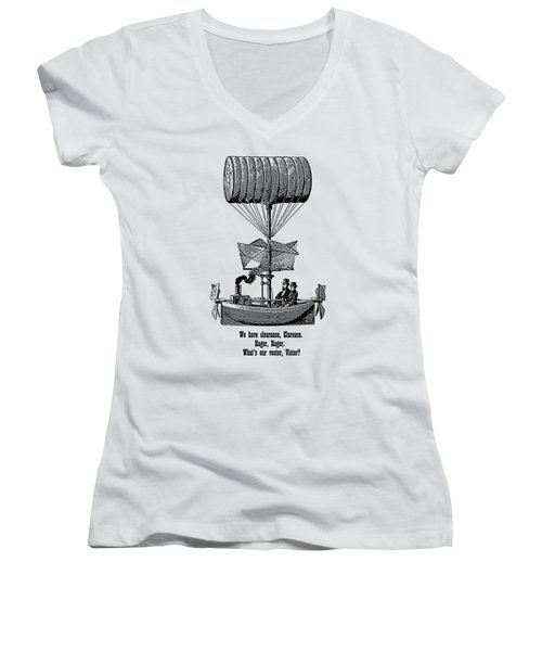 Women's V-Neck featuring the digital art Vector Victor Vintage Airship by Barbara St Jean