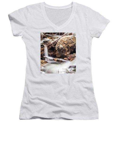 Velvet Falls - Rocky Mountain Stream Women's V-Neck (Athletic Fit)