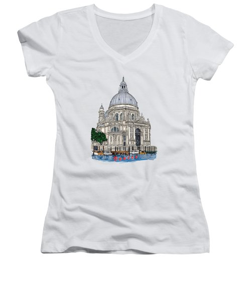 Women's V-Neck T-Shirt (Junior Cut) featuring the drawing Venice  by Andrzej Szczerski