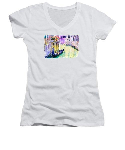 Venice Canal Women's V-Neck T-Shirt (Junior Cut) by Marian Voicu