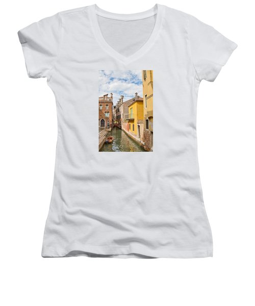 Venice Canal Women's V-Neck T-Shirt (Junior Cut) by Sharon Jones