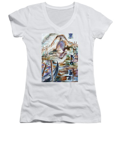 Women's V-Neck T-Shirt (Junior Cut) featuring the painting Venice Impression I by Xueling Zou