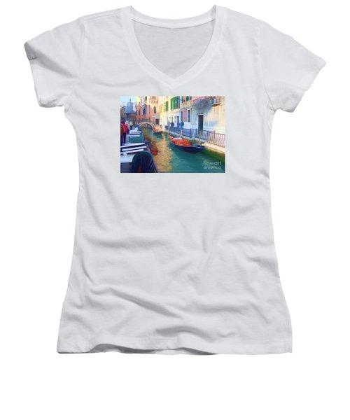 Women's V-Neck T-Shirt (Junior Cut) featuring the photograph Venice Sidewalk Cafe by Roberta Byram