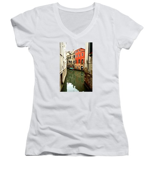 Venice Street Scene 3 Women's V-Neck T-Shirt (Junior Cut) by Richard Ortolano