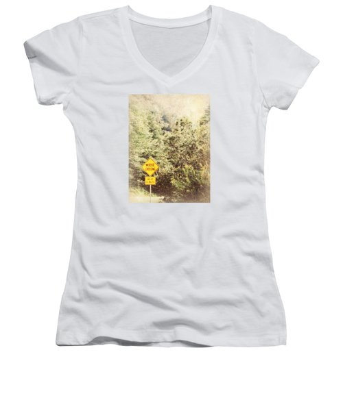 Vermont In Winter Women's V-Neck T-Shirt (Junior Cut) by Robin Regan