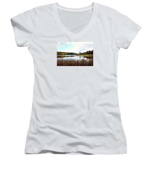 Vermont Scenery Women's V-Neck T-Shirt (Junior Cut) by Rena Trepanier