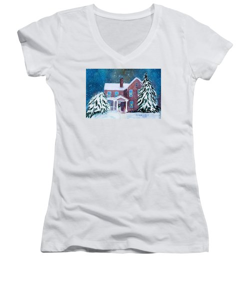 Women's V-Neck T-Shirt (Junior Cut) featuring the painting Vermont Studio Center In Winter by Donna Walsh
