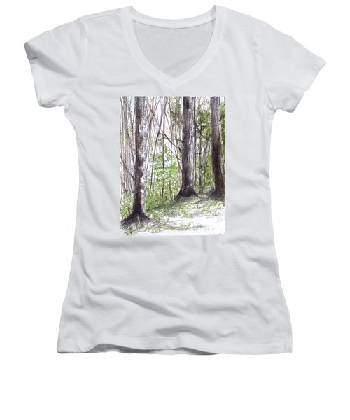 Vermont Woods Women's V-Neck T-Shirt (Junior Cut) by Laurie Rohner