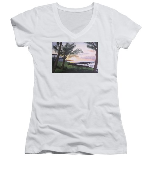 Women's V-Neck T-Shirt (Junior Cut) featuring the painting Version 2 by Teresa Beyer