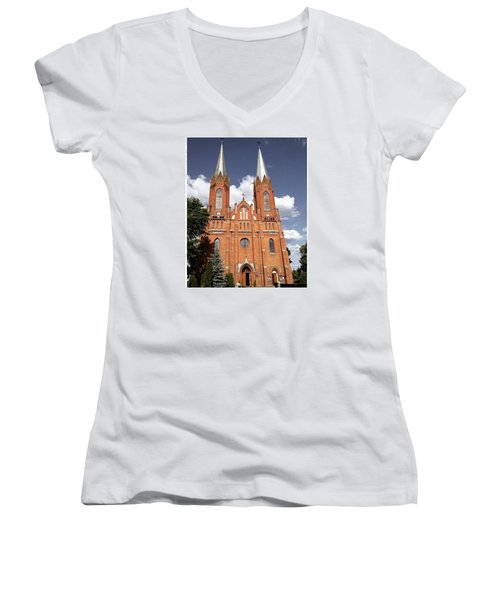 Very Old Church In Odrzywol, Poland Women's V-Neck T-Shirt