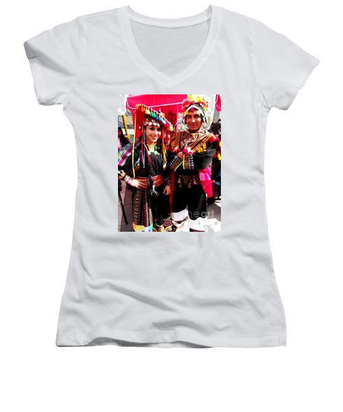 Very Proud Bolivian Dancers Women's V-Neck (Athletic Fit)