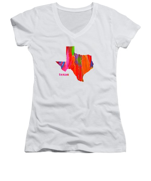 Vibrant Colorful Texas State Map Painting Women's V-Neck T-Shirt (Junior Cut)