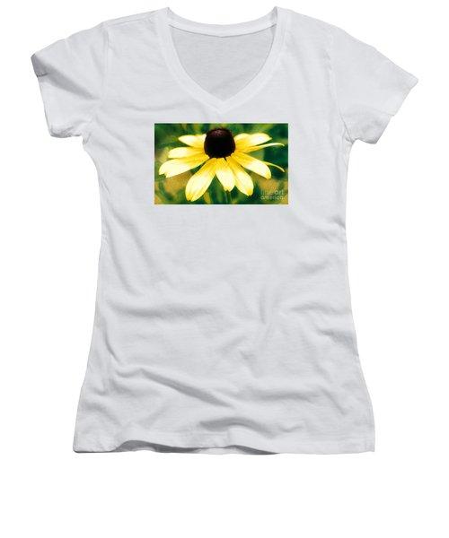 Vibrant Yellow Coneflower Women's V-Neck T-Shirt (Junior Cut) by Judy Palkimas