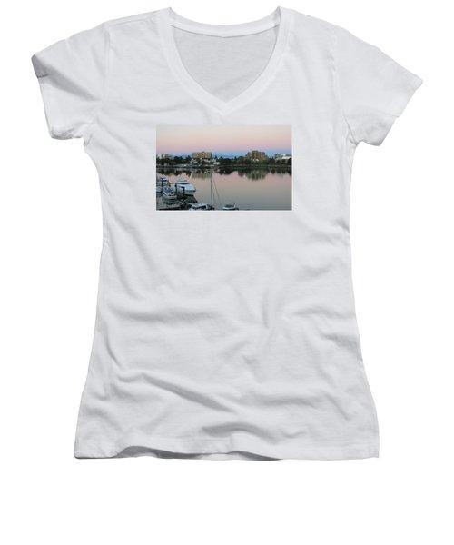 Victoria Harbor Dawn Women's V-Neck T-Shirt (Junior Cut) by Betty Buller Whitehead