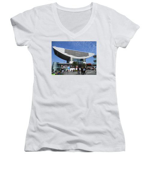 Women's V-Neck T-Shirt (Junior Cut) featuring the photograph Victoria Peak 3 by Randall Weidner