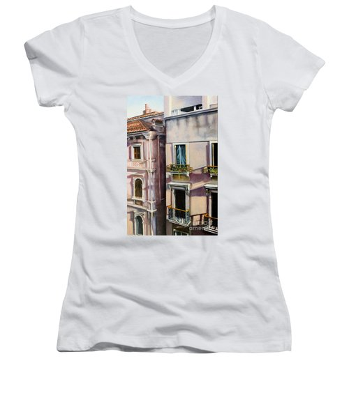 Women's V-Neck T-Shirt (Junior Cut) featuring the painting View From A Venetian Window by Marlene Book