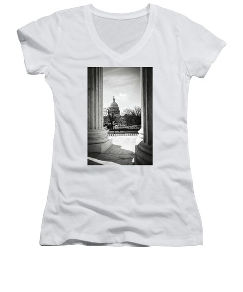 View Of Capitol Hill Through The Supreme Court Women's V-Neck