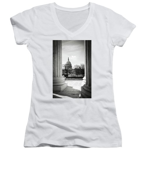 View Of Capitol Hill Through The Supreme Court Women's V-Neck (Athletic Fit)