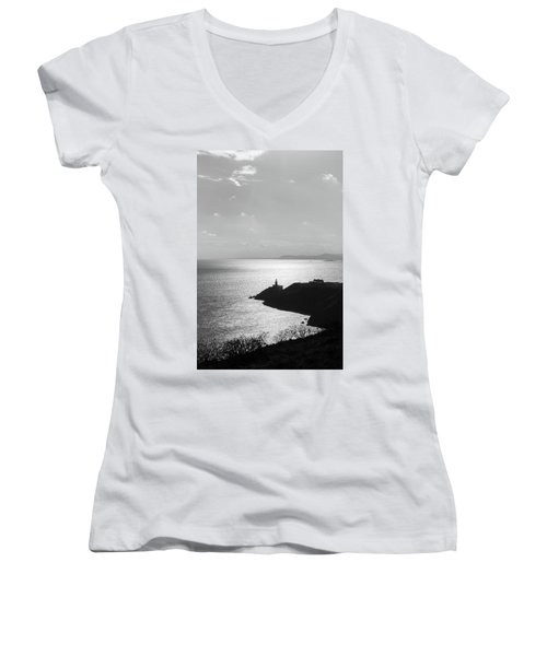Women's V-Neck T-Shirt (Junior Cut) featuring the photograph View Of Howth Head With The Baily Lighthouse In Black And White by Semmick Photo