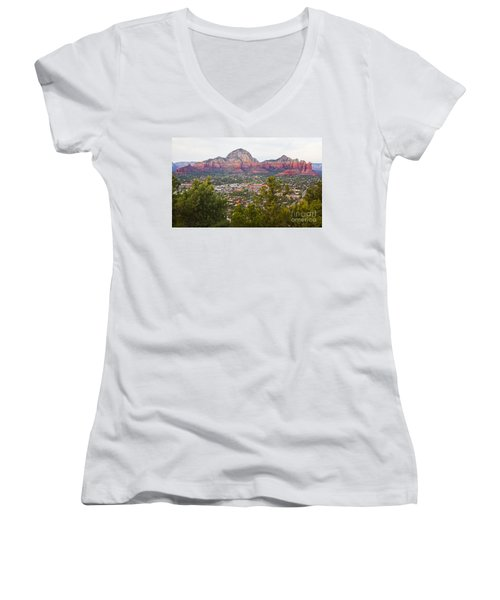 Women's V-Neck T-Shirt (Junior Cut) featuring the photograph View Of Sedona From The Airport Mesa by Chris Dutton