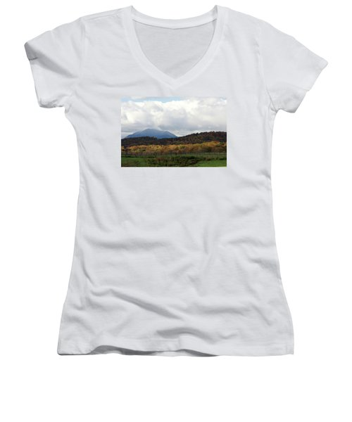 View Of Sharp Top In Blue Ridge Mountains Women's V-Neck