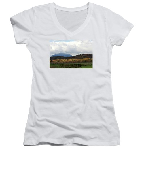 View Of Sharp Top In Blue Ridge Mountains Women's V-Neck (Athletic Fit)
