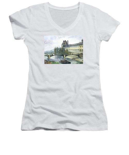 View Of The Pavillon De Flore Of The Louvre Women's V-Neck T-Shirt (Junior Cut)