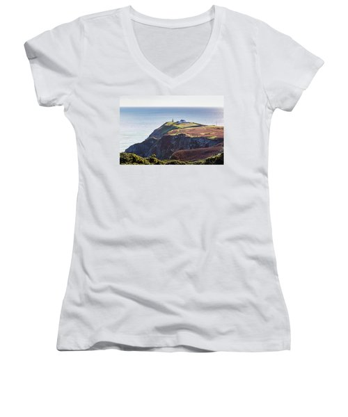 Women's V-Neck T-Shirt (Junior Cut) featuring the photograph View Of The Trails On Howth Cliffs And Howth Head In Ireland by Semmick Photo