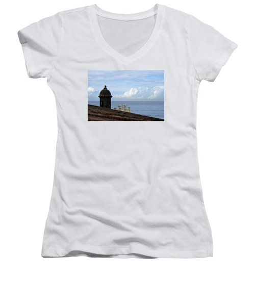 Women's V-Neck T-Shirt (Junior Cut) featuring the photograph View To The Sea From El Morro by Lois Lepisto