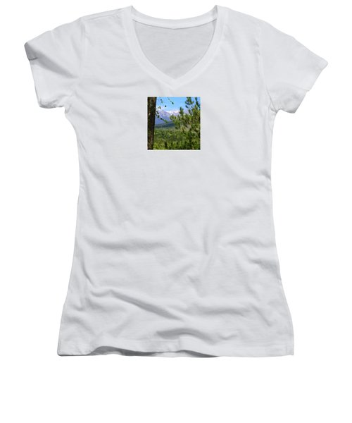Views Of Katahdin Women's V-Neck T-Shirt (Junior Cut) by Robin Regan