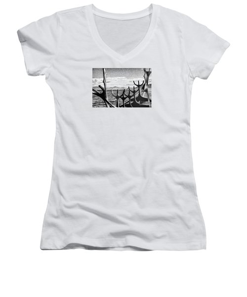 Women's V-Neck T-Shirt (Junior Cut) featuring the photograph Viking Tribute by Rick Bragan